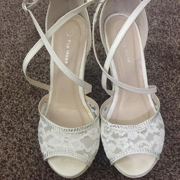 white sparkle wedges